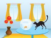 Black cat hunting goldfish — Stock Vector