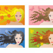Royalty-Free Stock Vector Image: Four color types of beauty