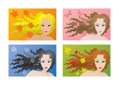 Four color types of beauty — Stock Vector
