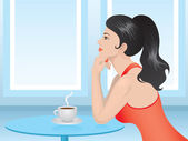 Lady in red drinking coffee — Stock Vector