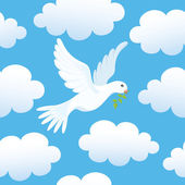 Seamless background with dove in clouds — Stock Vector