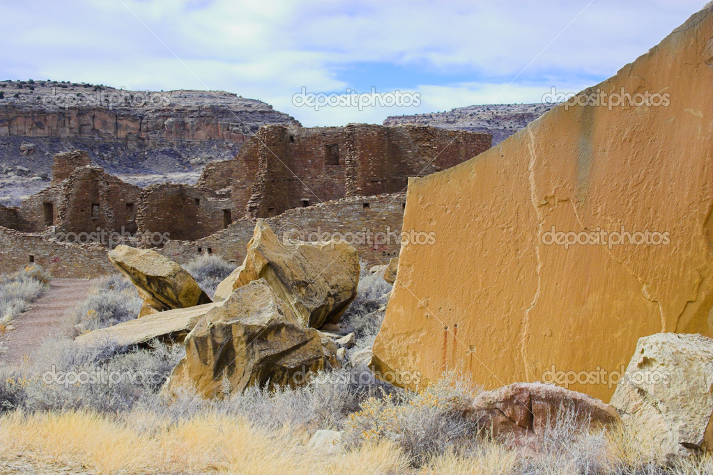 Ancient ruins of pre-historic Indian cultures of American southwest and surroundings, Chaco Culture National park  Stock Photo #2322107