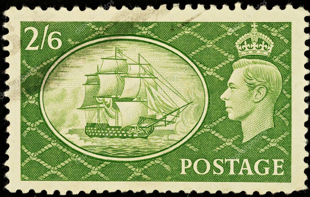 English Two Shilling and Sixpence Green Used Postage Stamp showing Portrait of King George VI and HMS Victory, circa 1951  — Stock Photo #2272242
