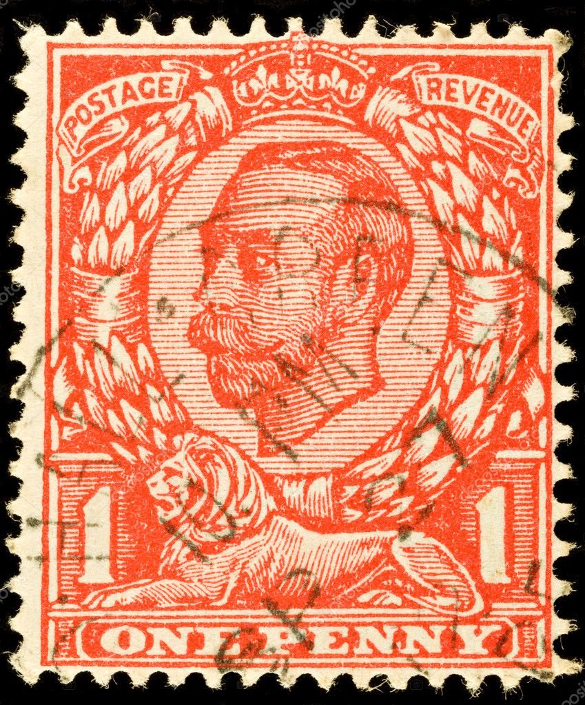 Old British one penny red stamp showing King George V, circa 1912  — Stock Photo #2272277