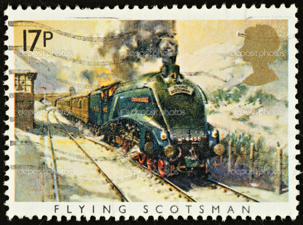 British Used Postage Stamp showing The Flying Scotsman Train, circa 1985  — Stock Photo #2343739