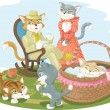 Stock Vector: Cats family scene