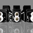 120 double lens camera over white background. — Stock Photo
