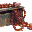 Stock Photo: Amber necklace in indileather case