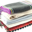 Selection of six wool different scarves - Stock Photo