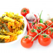 Pasta, pepper, tomato and garlic — Stock Photo