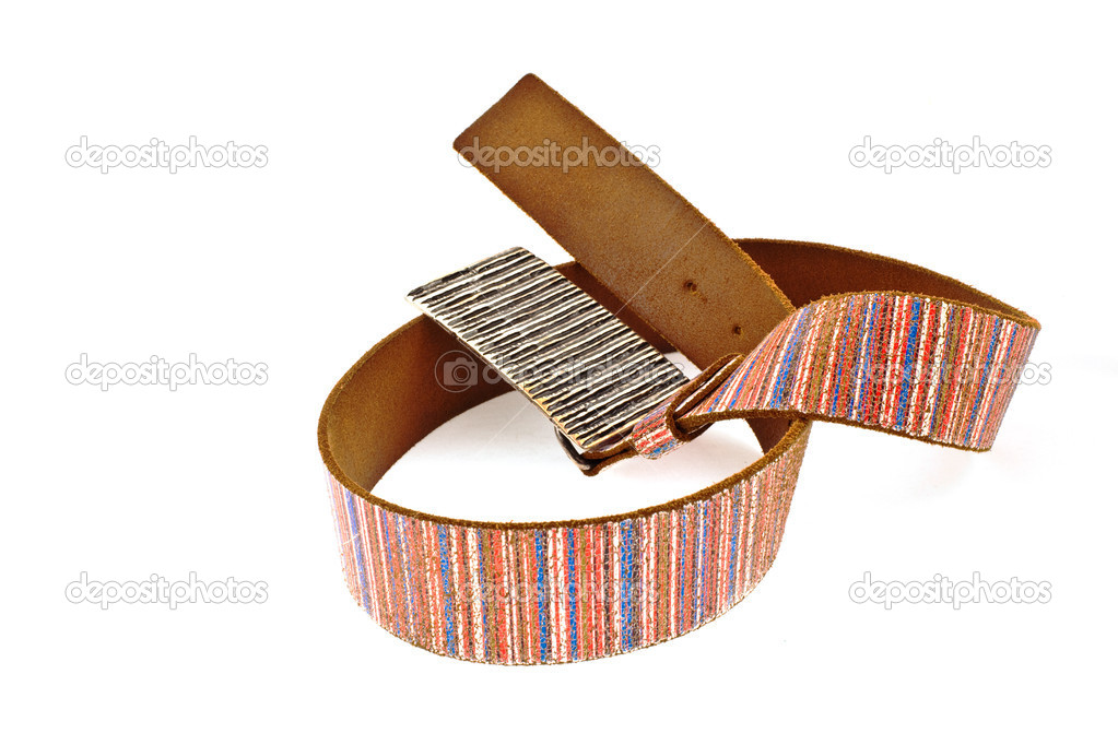 Multicoloured leather belt with big steel buckle on a white background — Stock Photo #2288563
