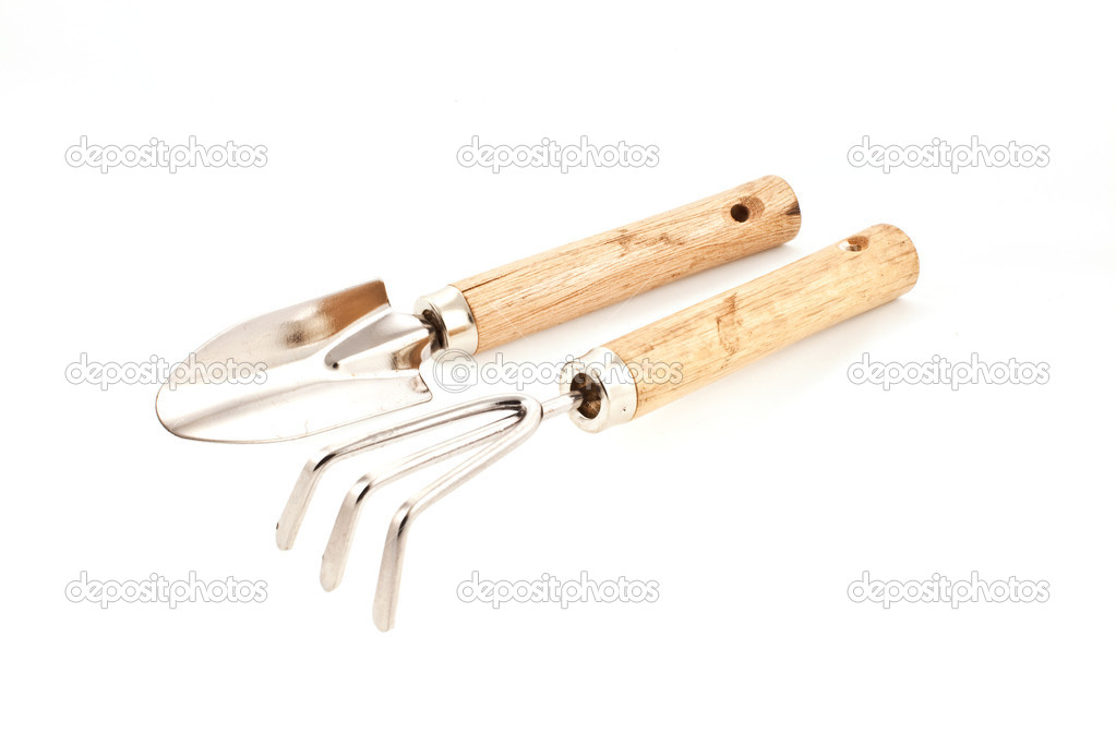 Gardening tools: fork and trowel on a white background — Stock Photo #2288830