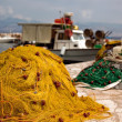 Fishing nets in harbor - Stock Photo