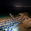 Sea hotel beach at night — Stock Photo