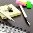 Organizer, post-its, pen, pencil and st — Foto de Stock