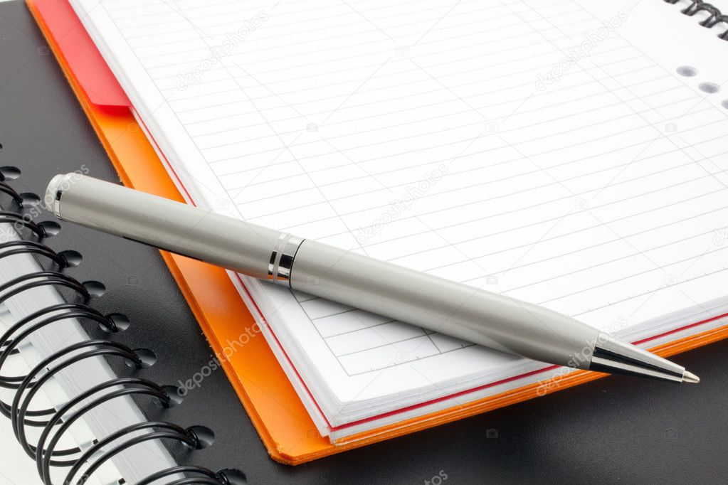 Silver pen and two paper notebooks: orange and black — Stok fotoğraf #2291465