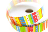 Color striped ribbon spool — Stok fotoğraf