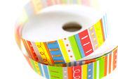 Color striped ribbon spool — Stock Photo