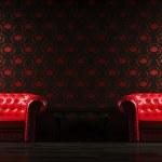 couro vermelho duas poltronas 3d render — Foto Stock