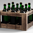Stock Photo: Box with bottles of wine