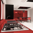 Stock Photo: interior of modern kitchen 3d render