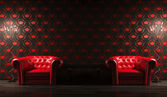 Two red leather armchairs 3d render — Stock Photo