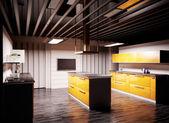 Modern kitchen 3d render — Stock Photo