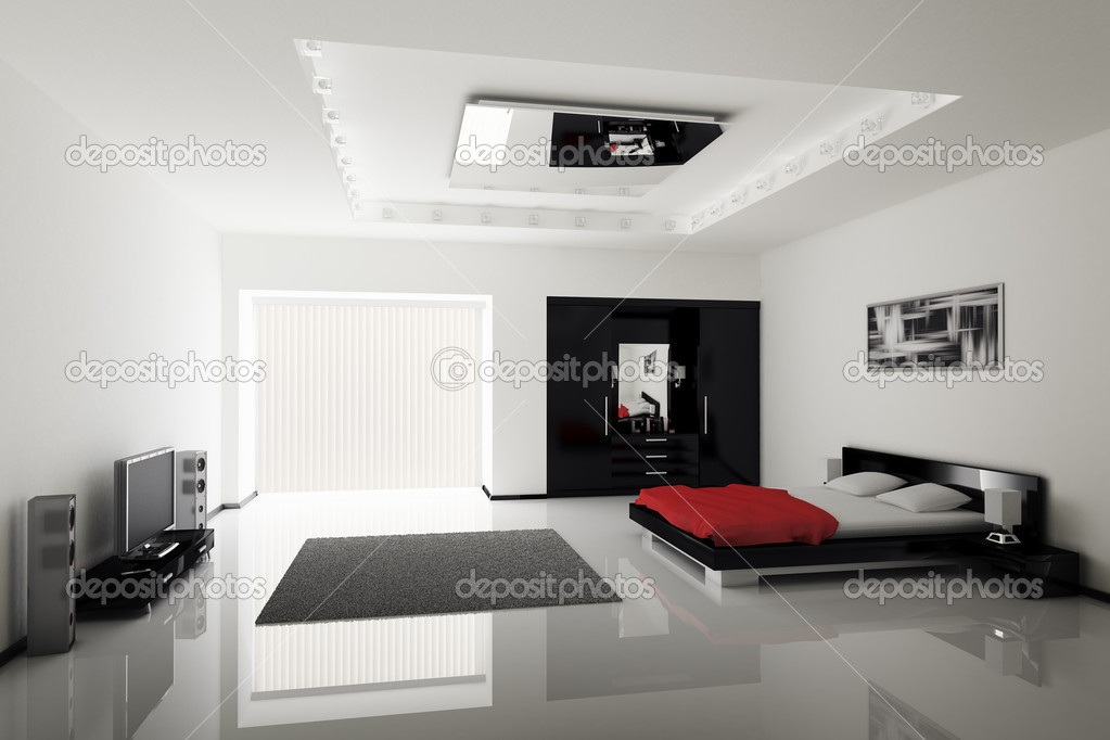 moderne schlafzimmer interieur stockfoto scovad 2268433. Black Bedroom Furniture Sets. Home Design Ideas