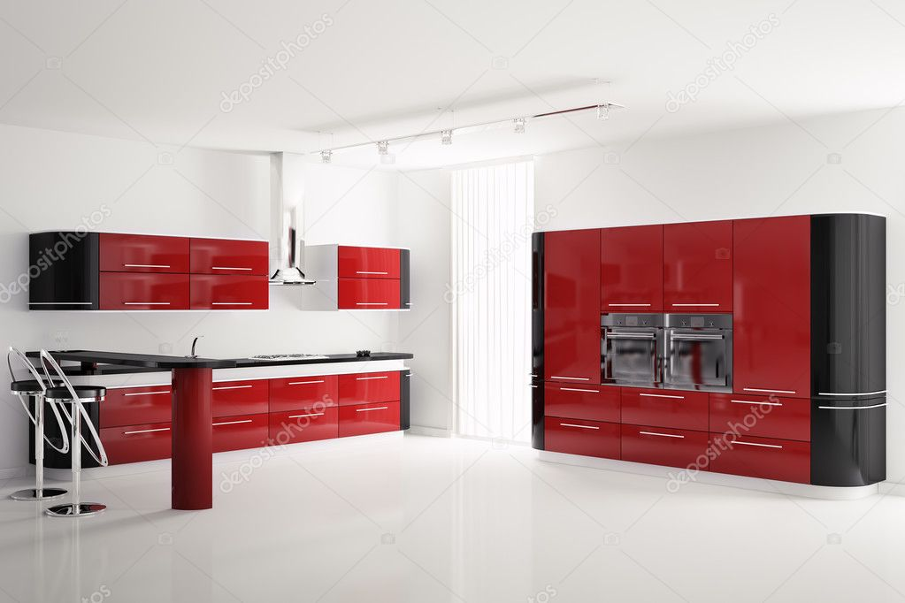 Interieur van moderne rood zwart keuken 3d — stockfoto © scovad ...