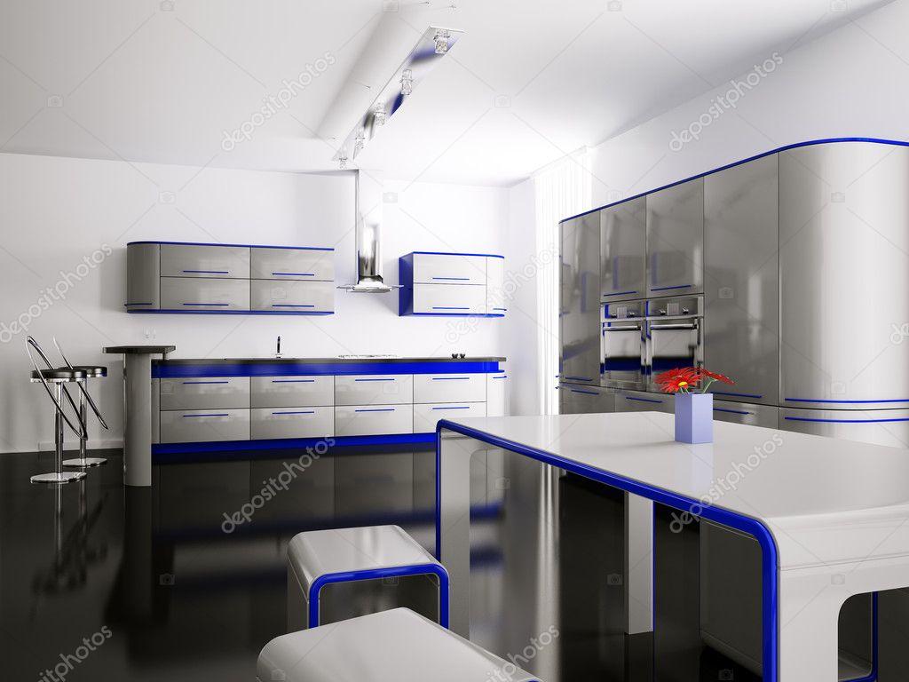 Interieur van grijs blauw keuken 3d — Stockfoto © scovad #2269468