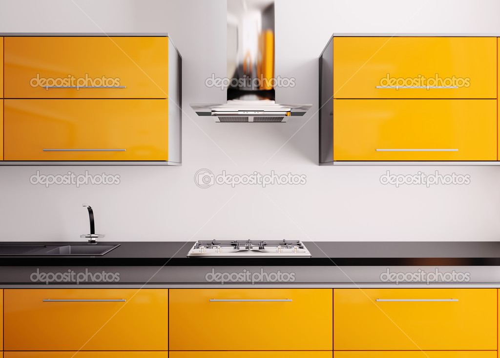 Orange kitchen with sink,gas cooktop and hood 3d — Stock Photo #2269607