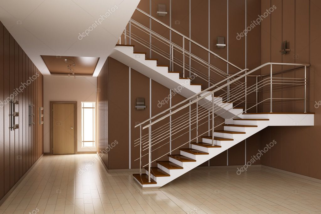 Modern interior of hall with stairs 3d render — Stock Photo #2270047