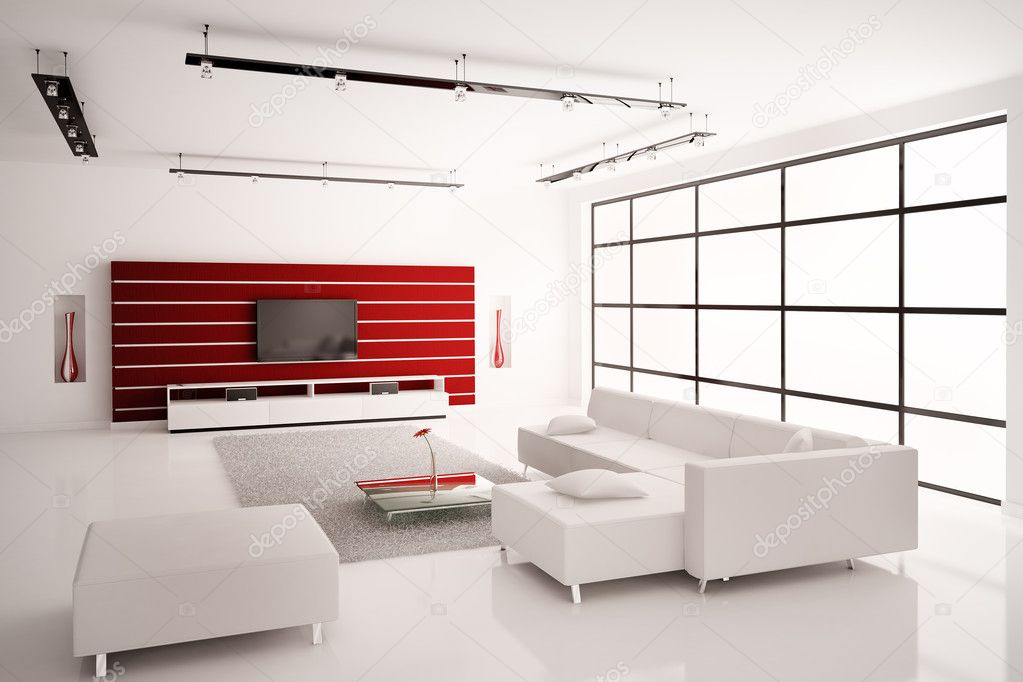 Moderne woonkamer in wit rood interieur 3d renderen — Stockfoto ...