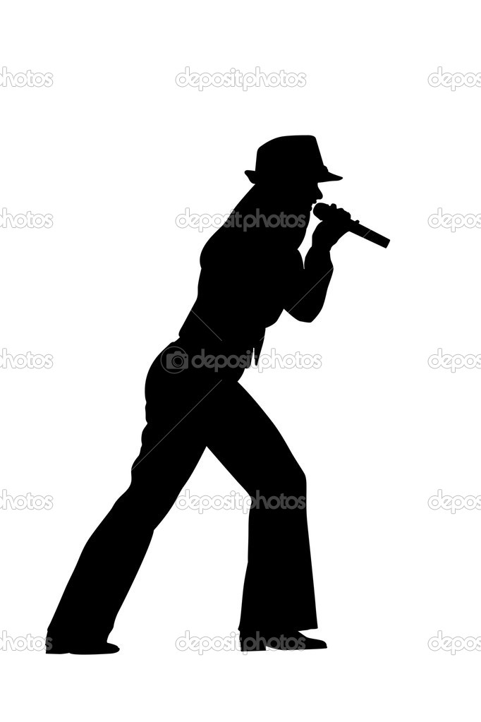 唱歌的女人剪影– 图库图片