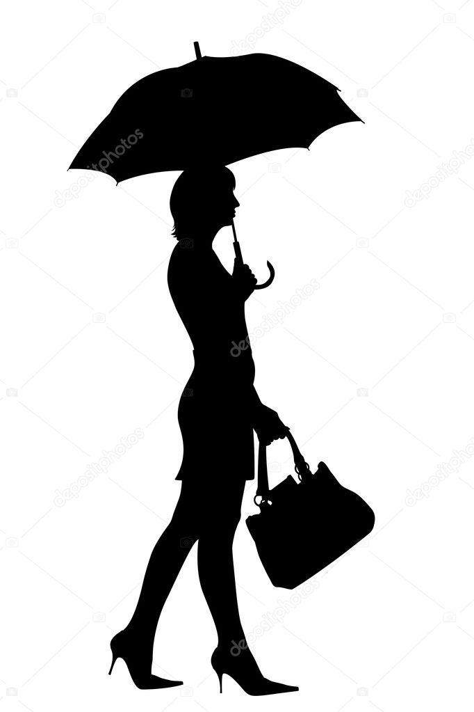 Wandelen vrouw met paraplu silhouet — Stockfoto © scovad ...
