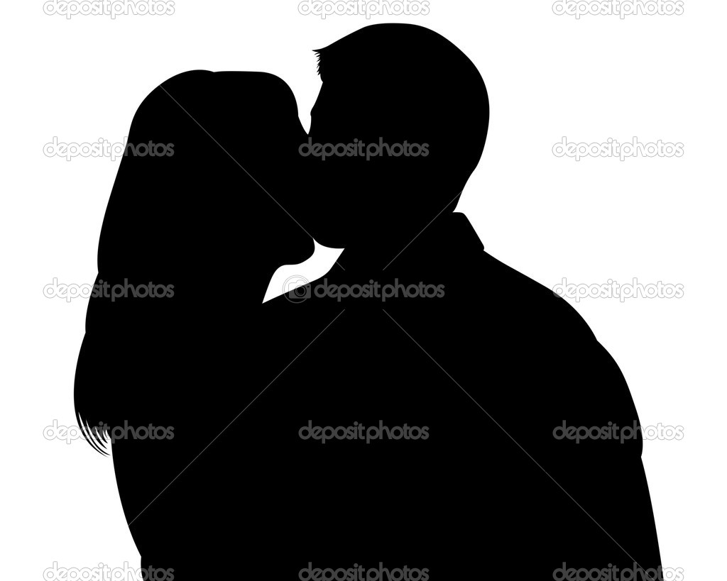 Kissing woman and man silhouettes with clipping path — Stock Photo #2270655