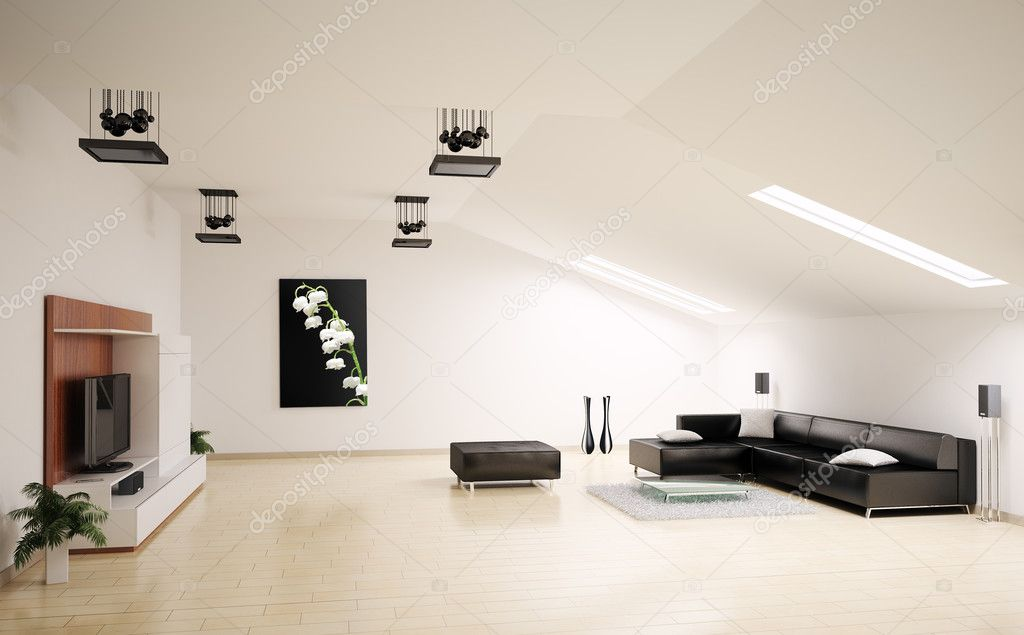Living room penthouse interior 3d render  Stock Photo #2270734