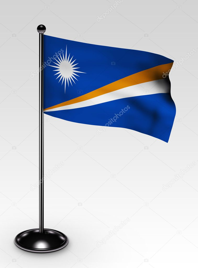 Small Marshall Islands flag with clipping path 3d render — Stock Photo #2279655