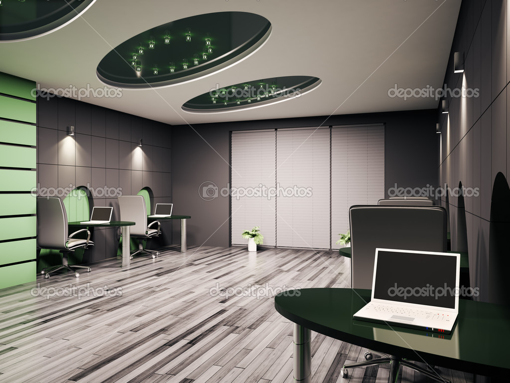 Computer office interior 3d stock photo scovad 2441823 Computer office interior design