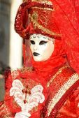 Red mask in venice — Stock Photo