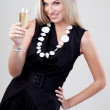 A woman with a glass of wine — Stock Photo