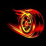 Flaming wheel — Stock Vector