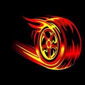Flaming wheel — Vector de stock