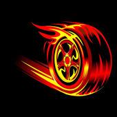 Hořící kolo — Stock vektor