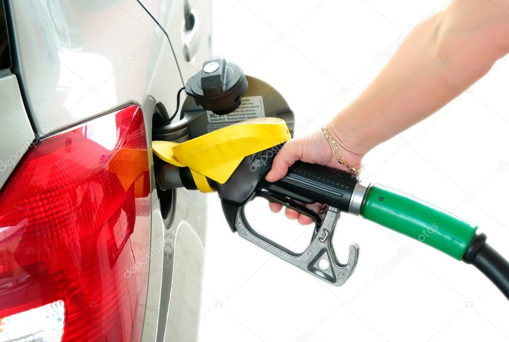 Closeup refuel gasoline in gas-station on white background — Stock Photo #2286361