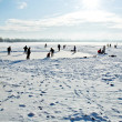 Stock Photo: Skating on frozen lake
