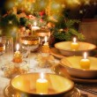 Christmas table with christmas mood — Stock Photo