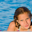 Young girl in the swimming-pool — Photo