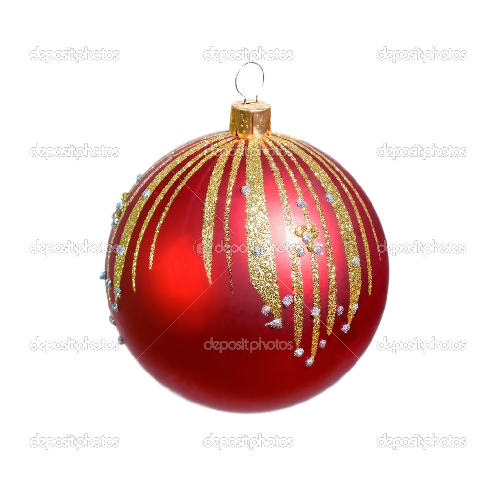 Red christmas ball on white background — Stock Photo #2527656