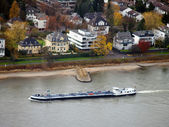 Barge on the river Rhein in the villas q — Stock Photo